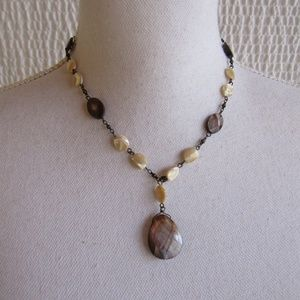 10 inch necklace Brown Wood Shell Look